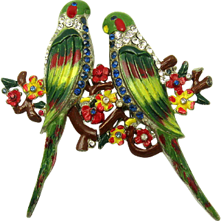 Ultra Rare CORO Duette Enamel Pair of Parakeets on Flower Branches Rhinestones