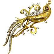 RARE CROWN TRIFARI A. Philippe Sterling Bird of Paradise Brooch Pave Rhinestones