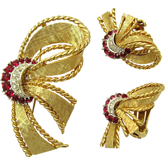 BOUCHER Vintage Set Brooch Earrings Ruby Red and Clear Crystal Rhinestones