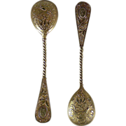 6 German Imperial silver gilt demitasse spoons,Bruckmann & Sohne, Heilbronn, Germany, circa 1890.