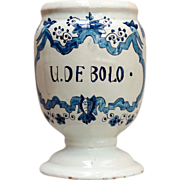A 17th century Delft faience apothecary jar, mark for Adriaen Koeks circa 1690.