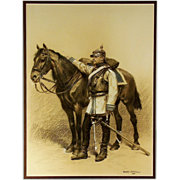 Edouard Detaille (1842-1912), a large drawing of a Prussian cuirassier and his horse from the Franco-Prussian War, signed and dated 1882.