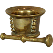 A 16th century French or Northern Italian bronze mortar and pestle circa 1580.