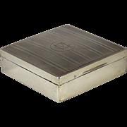 A George V sterling silver mounted Art Deco table box, Barker Bros. Ltd., Birmingham, 1932.