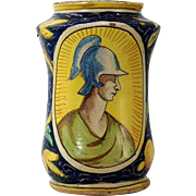 A 16th century Venetian majolica opium albarello, Domenico Veneziano and workshop, Venice, circa 1570.