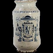 An 18th century Mexican Colonial Talavera Poblana majolica drug jar/alborello, Puebla, Mexico, circa 1750.