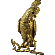 An early Victorian gilded bronze inkwell of a Cockatoo associated with the Great Exhibition of 1851