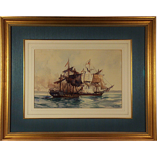 John Paul Jones 1778 North Channel Naval Duel; a 1937 watercolor by Frank Vining Smith (1879-1967)
