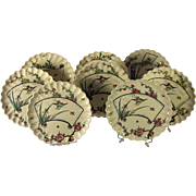 A set of eight Copeland Aesthetic polychrome transfer ware plates in the Japanese taste, Staffordshire, circa 1879.
