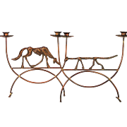 A vintage pair of Bill Huebbe (1929-2013) copper and brass dog and cat candelabrum, circa 1985