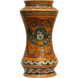 A fine early 17th century polychrome majolica drug jar, probably made in Palermo, Sicily around 1630.