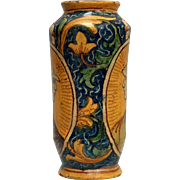 An early 17th c. South Italian majolica drug jar/albarello, probably Palermo, Sicily circa 1620