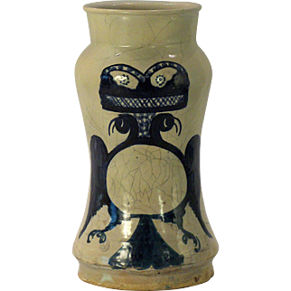 A mid-17th century Spanish majolica drug jar/albarello, probably Talavera, Spain circa 1650