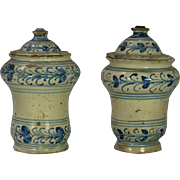 A pair of mid-18th century French faience apothecary jars, probably Lille or Rouen circa 1765