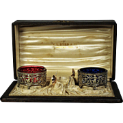 A scarce complete boxed set of Gorham sterling master salts and Whiting  Arabesque spoons retailed by C.L. Byrd, Memphis, Tennessee, circa 1890