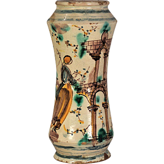 A very scarce 18th century Talavera majolica drug jar, Talavera, Castile, Spain circa 1740