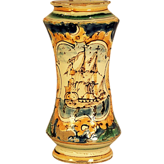 A rare late 16th century Italian majolica drug jar painted with a galleon, Caltagirone, Sicily, circa 1600