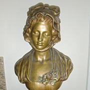 original period french patinated bronze bust signed J B GREUZE JD c.1880