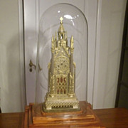 important French gothic original gilded cathedral mantel clock , church bell sound c. 1820