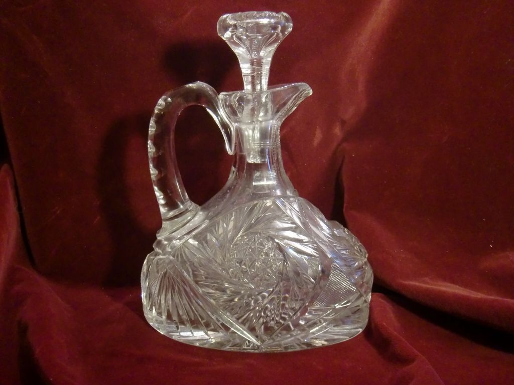 unusual shape American Brilliant cut glass decanter ABP c. 1905