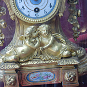 exclusive antique French gilded bronze porcelain mantel clock under dome, cherubs c.1880