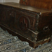 outstanding original antique blanket trunk / cascade French Flur De Lis 18th century