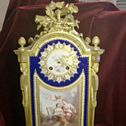 Exceptional antique French gilded bronze porcelain mounts mantel clock, signed. c.1880