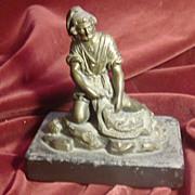 Original Vienna bronze statue man on marble base c.1880