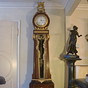 Antique French LXV original palace gilded figural bronze grandfather clock c.1880