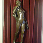 Antique German patinated bronze statue dancing nude signed FRITZ HEINEMANN, 19th century large