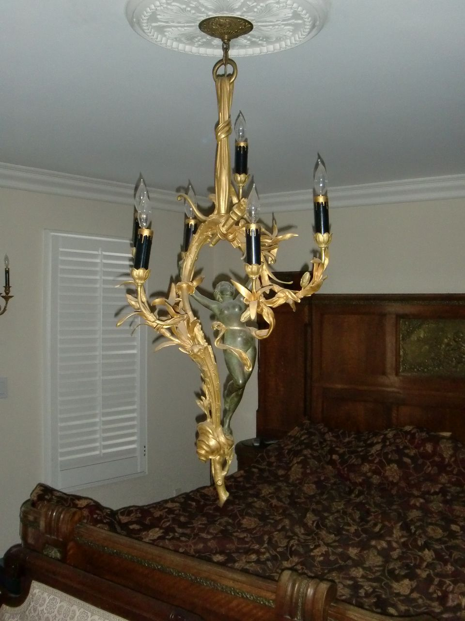 Antique French gilded bronze figural chandelier Madonna , museum quality,  c.1880 - Antique French Gilded Bronze Figural Chandelier Madonna , Museum