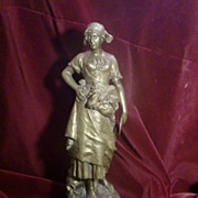 Antique French patinated bronze farmer signed C.SPERLACHEN