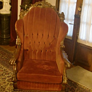 Impressive large hand carved wood velvet throne chair signed THE ZANGERI E & PETERSON Co. Chicago