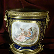 Antique Sevres French footed   champagne  bucket gilded figural bronze c.1880