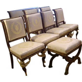 The complete set of antique French Gilded bronze Empire style living room set c.1880 spectacular