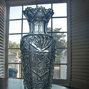 exceptional quality american brilliant tall cut glass vase ABP c. 1905