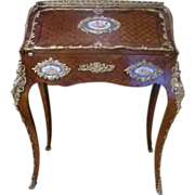 Original Rare Period LXV Sevres gilded figural Lady's Directoire Parquetry writing desk Secretarie, 19c.