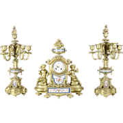 Antique French Gilded bronze figural sevres porcelain three piece mantel clock graniture, c.1880