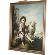 Stunning huge oil on canvas painting shepherd, sheep, signed Spanish listed artist, circa 1900