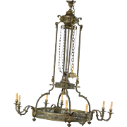 Palatial, French antique grand 8 light gilded bronze chandelier, circa 1880