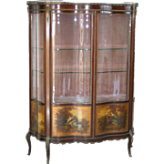 Stunning French Vernis Martin hand painted bronze mounts curved glass double door vitrine, showcase, circa 1880