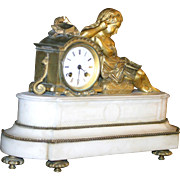 Antique French Figural gilded bronze, marble mantel clock,cherub, circa 1880, museum quality