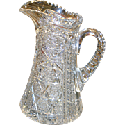 American Brilliant cut glass pitcher, ABP, circa 1905, precise cuts, hobstars pattern,exquisite quality