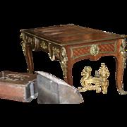 Original Period French figural gilded bronze, marquetry three drawer bureau platt, writing desk, circa 1880, museum quality