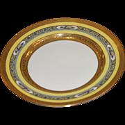 "Antique set of 12 porcelain gold trim and painted formal dinner plates, Signed "" Bavaria thomas"""