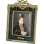 Antique large hand painted enamel on copper, French 16th c. Maiden, gilded  bronze frame circa 1880 signed