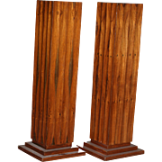 Pair of tall turn of the century carved wood pedestal, columns for art display, beautiful, rare