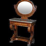 Antique  Empire style Dutch marquetry claw feet marble top vanity mirror, circa 1890 rare