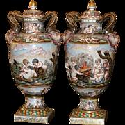 Pair of original large Italian Capodimonte Lidded Hand painted porcelain urns, cherubs, circa 19th century