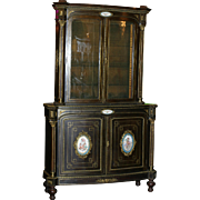 Monumental Original Period French Sevres ebonized Sevres showcase, bronze and hand painted sevres plaques, circa 1880 superb